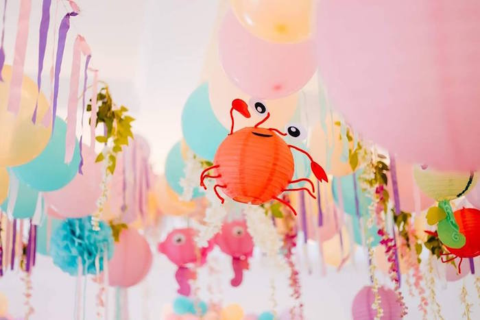 Paper Lantern Crab from a Pastel Mermaid Birthday Party on Kara's Party Ideas | KarasPartyIdeas.com (5)