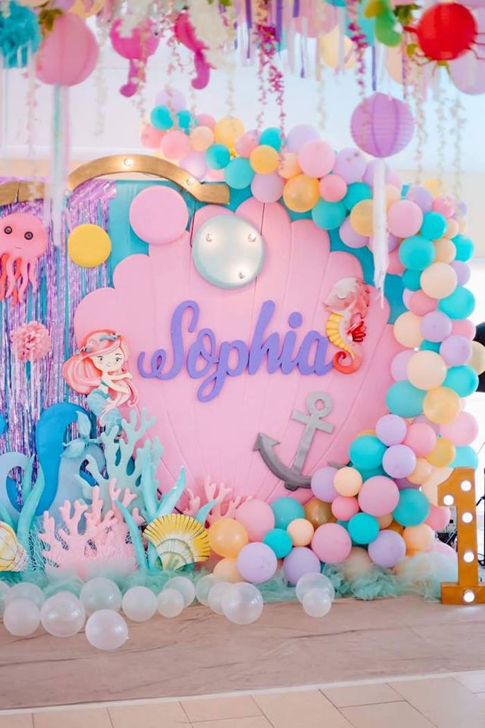 Sea Shell Backdrop from a Pastel Mermaid Birthday Party on Kara's Party Ideas | KarasPartyIdeas.com (19)
