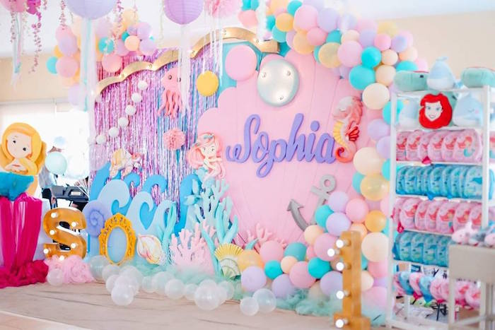 Under the Sea-inspired Party Backdrop from a Pastel Mermaid Birthday Party on Kara's Party Ideas | KarasPartyIdeas.com (17)