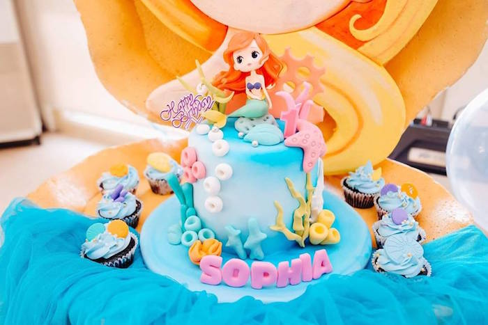 Mermaid Cake from a Pastel Mermaid Birthday Party on Kara's Party Ideas | KarasPartyIdeas.com (16)