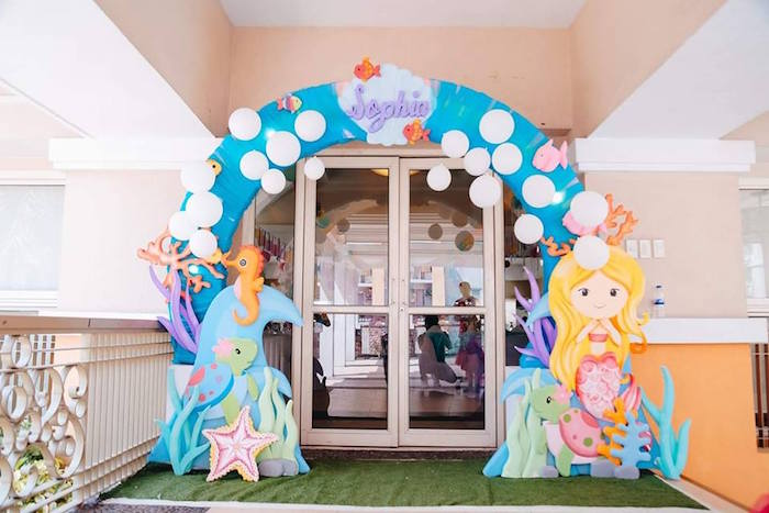 Under the Sea Party Entrance Arch from a Pastel Mermaid Birthday Party on Kara's Party Ideas | KarasPartyIdeas.com (15)