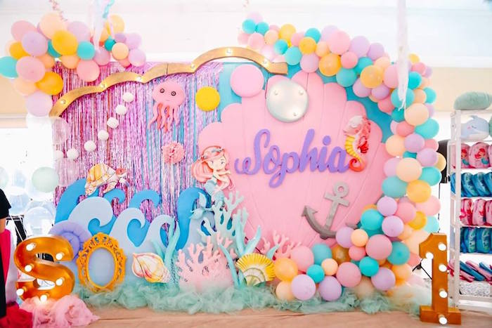 Gorgeous Under the Sea Party Backdrop from a Pastel Mermaid Birthday Party on Kara's Party Ideas | KarasPartyIdeas.com (14)