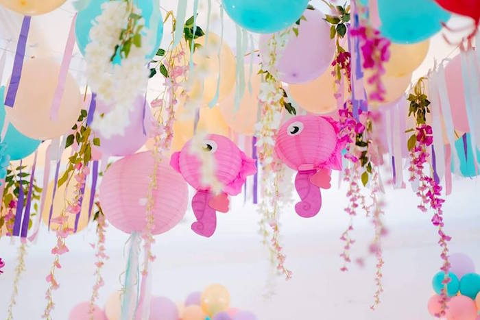 Under the Sea Balloon & Paper Lantern Ceilingscape from a Pastel Mermaid Birthday Party on Kara's Party Ideas | KarasPartyIdeas.com (13)