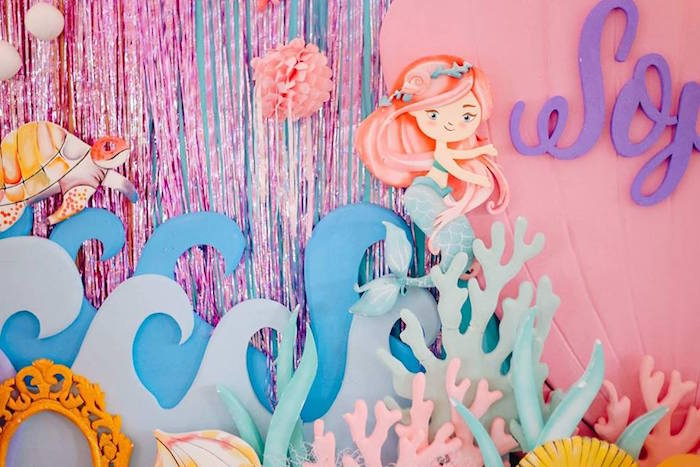 Under the Sea Mermaid Backdrop from a Pastel Mermaid Birthday Party on Kara's Party Ideas | KarasPartyIdeas.com (12)