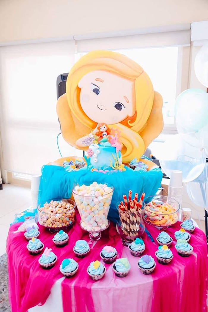 Mermaid Themed Dessert Table from a Pastel Mermaid Birthday Party on Kara's Party Ideas | KarasPartyIdeas.com (11)