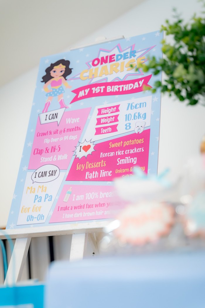 Wonder Woman Themed Highlight Board From A Pastel Birthday Party On Karas Ideas
