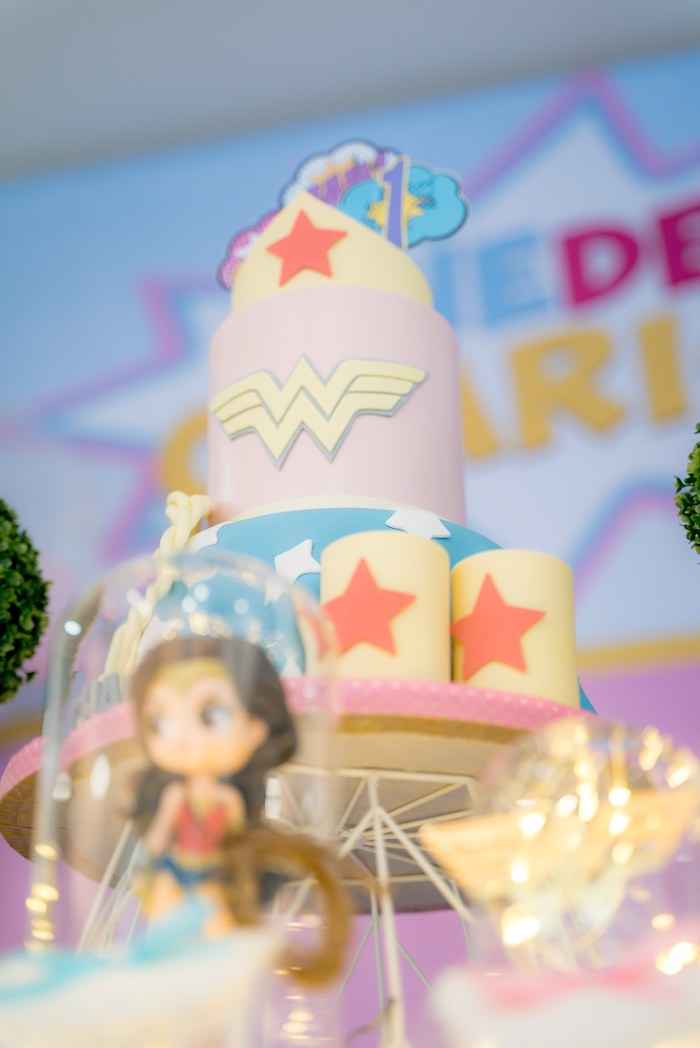 Excellent Karas Party Ideas Pastel Wonder Woman Birthday Party Karas Personalised Birthday Cards Bromeletsinfo