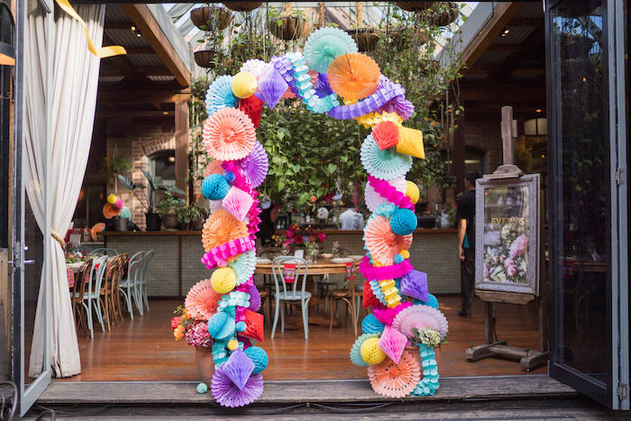 Colorful Tissue Paper Decoration Arch from a Peruvian Alpaca Inspired Wedding on Kara's Party Ideas | KarasPartyIdeas.com (31)