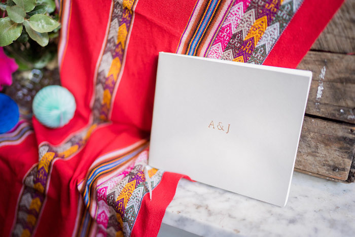 Simplistic Initialed Wedding Guestbook from a Peruvian Alpaca Inspired Wedding on Kara's Party Ideas | KarasPartyIdeas.com (24)