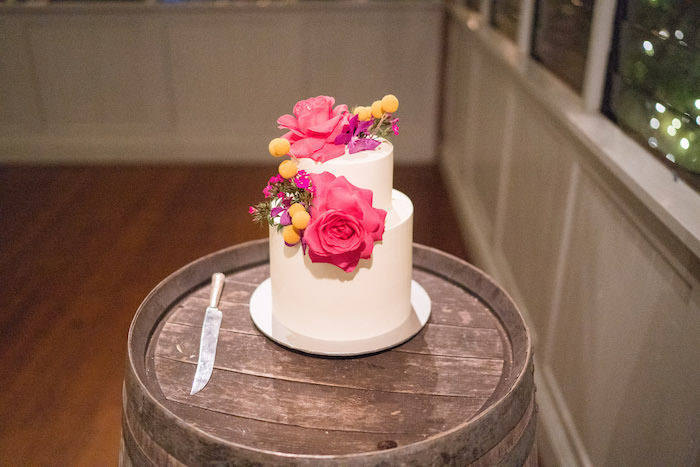 Pink Floral Wedding Cake from a Peruvian Alpaca Inspired Wedding on Kara's Party Ideas | KarasPartyIdeas.com (6)