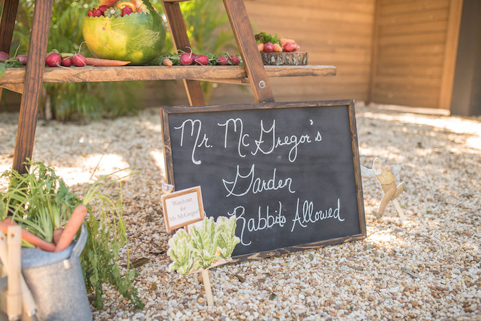 Mr. McGregor's Garden Chalkboard Sign from a Peter Rabbit Baby Shower on Kara's Party Ideas | KarasPartyIdeas.com (27)