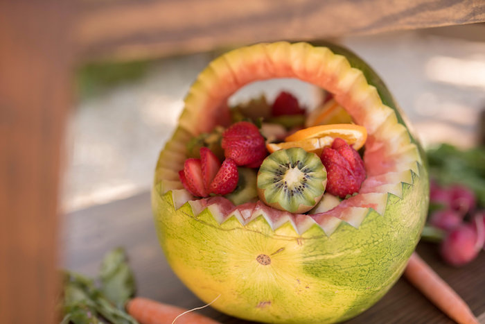 Carved Watermelon Fruit Bowl from a Peter Rabbit Baby Shower on Kara's Party Ideas | KarasPartyIdeas.com (24)