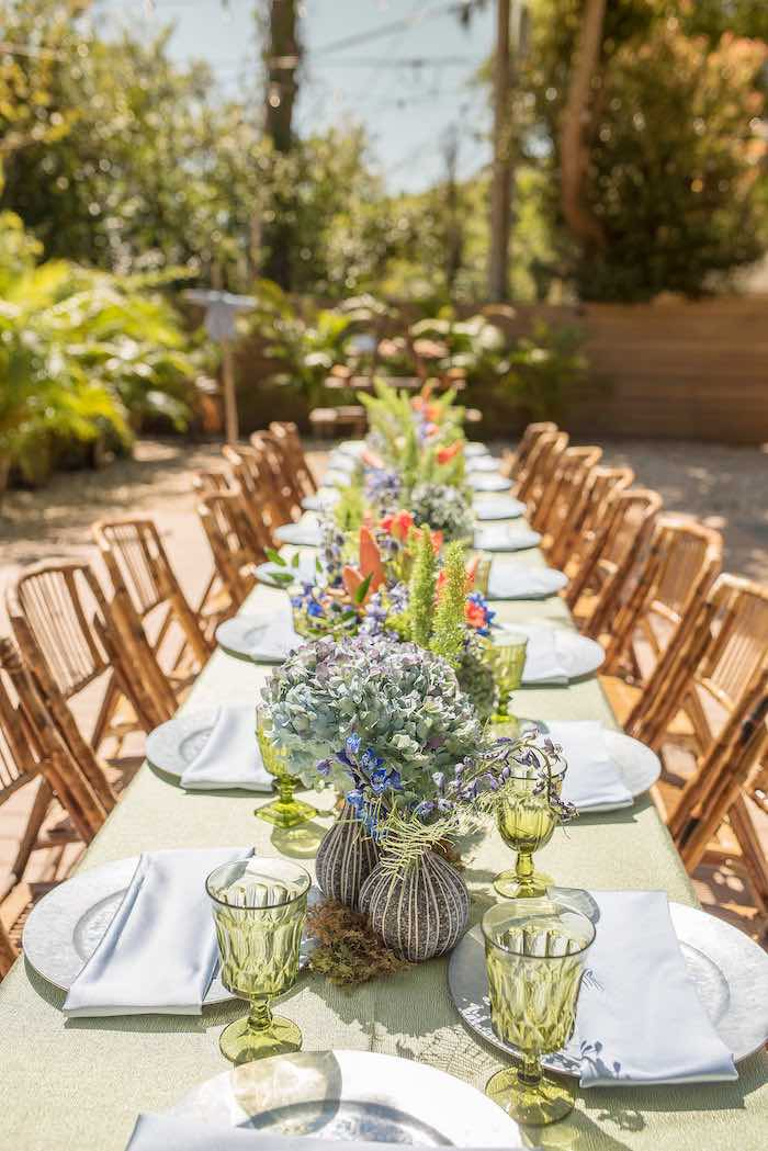 Garden Dining Tablescape from a Peter Rabbit Baby Shower on Kara's Party Ideas | KarasPartyIdeas.com (23)