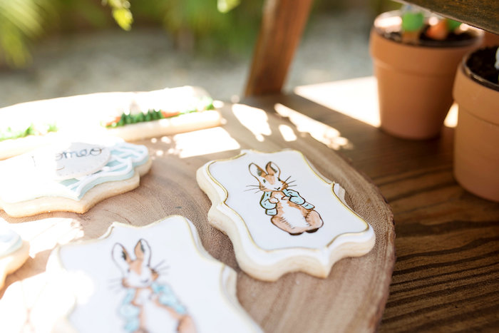 Peter Rabbit-inspired Sugar Cookies from a Peter Rabbit Baby Shower on Kara's Party Ideas | KarasPartyIdeas.com (38)