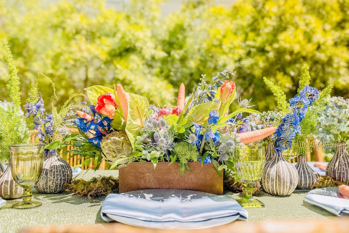 Peter Rabbit-inspired Garden Table Setting from a Peter Rabbit Baby Shower on Kara's Party Ideas | KarasPartyIdeas.com (19)