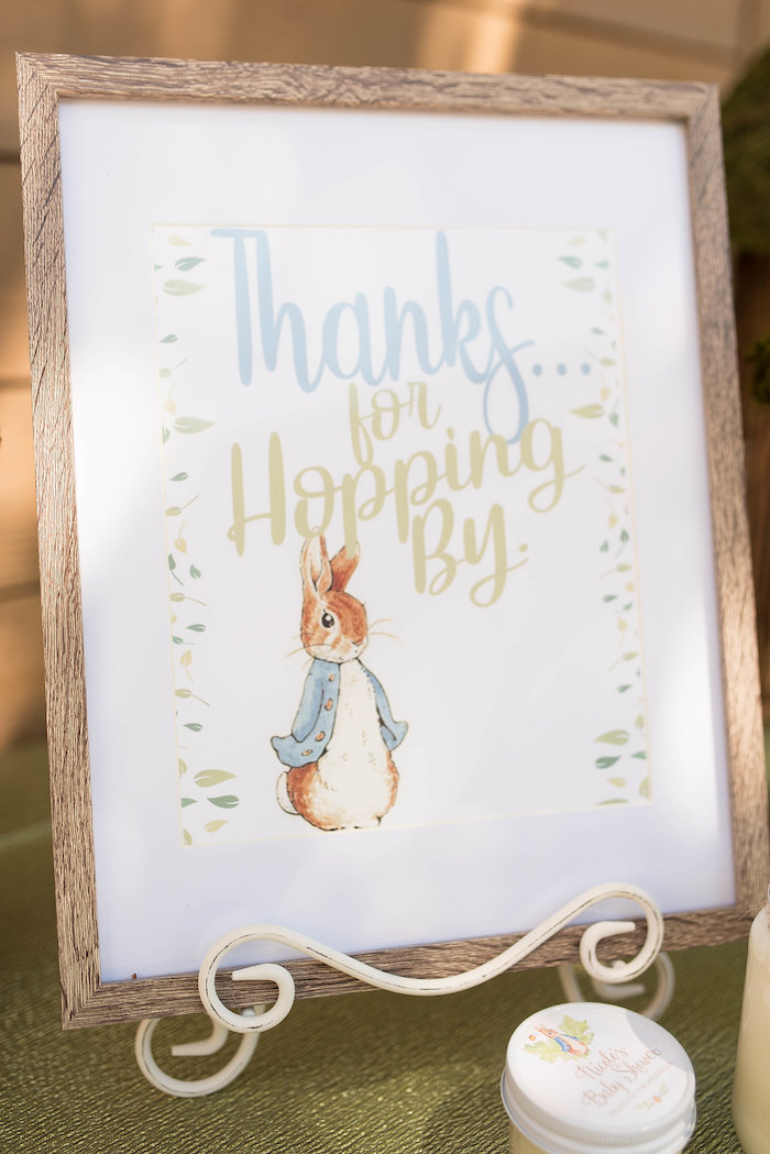 Peter Rabbit Thanks for Hopping By - Print from a Peter Rabbit Baby Shower on Kara's Party Ideas | KarasPartyIdeas.com (14)