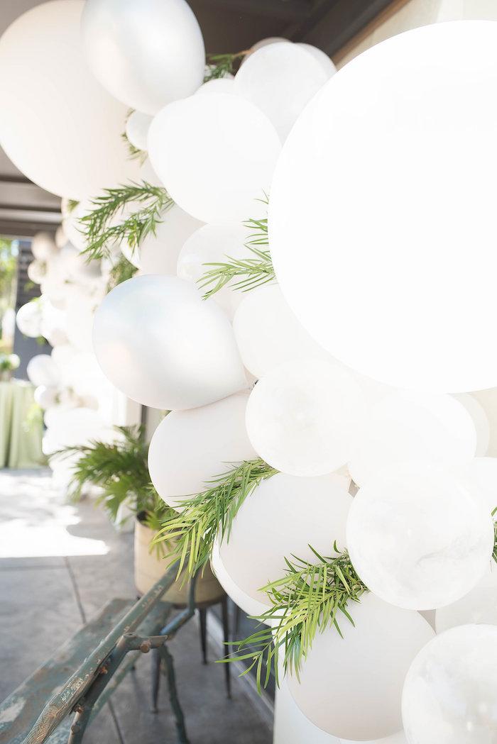 Garden-inspired Balloon Garland from a Peter Rabbit Baby Shower on Kara's Party Ideas | KarasPartyIdeas.com (12)