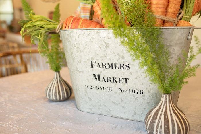 Farmer's Market Garden Table Centerpiece from a Peter Rabbit Baby Shower on Kara's Party Ideas | KarasPartyIdeas.com (10)