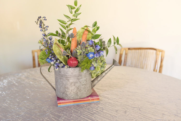 Watering Can Garden Table Centerpiece from a Peter Rabbit Baby Shower on Kara's Party Ideas | KarasPartyIdeas.com (8)