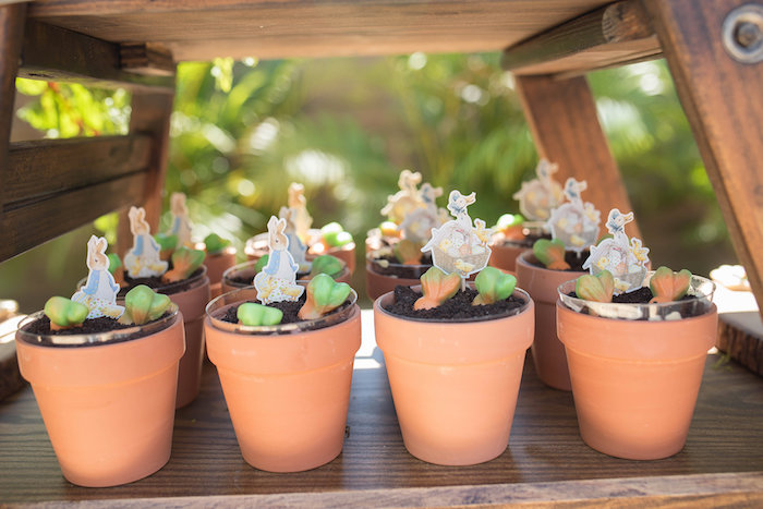 Terra Cotta-potted Dessert Cups with Peter Rabbit Character Toppers from a Peter Rabbit Baby Shower on Kara's Party Ideas | KarasPartyIdeas.com (36)