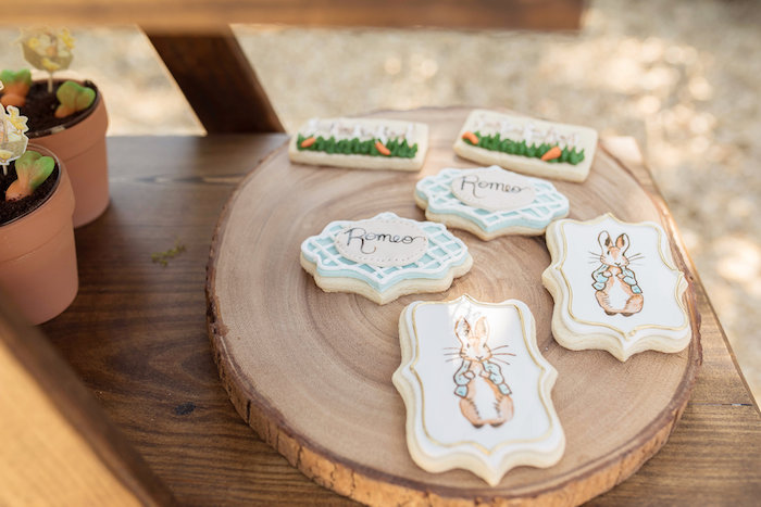 Peter Rabbit-inspired Sugar Cookies from a Peter Rabbit Baby Shower on Kara's Party Ideas | KarasPartyIdeas.com (32)