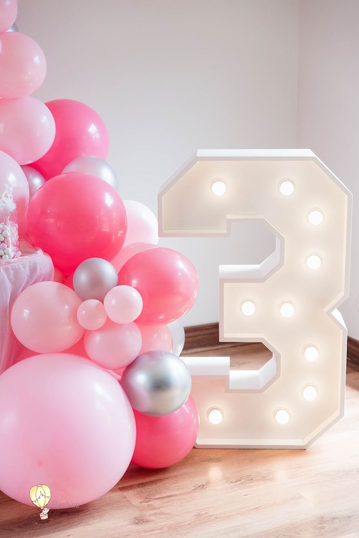 """3"" Marquee Light + Balloon Garland from a Pink Princess Birthday Party on Kara's Party Ideas 