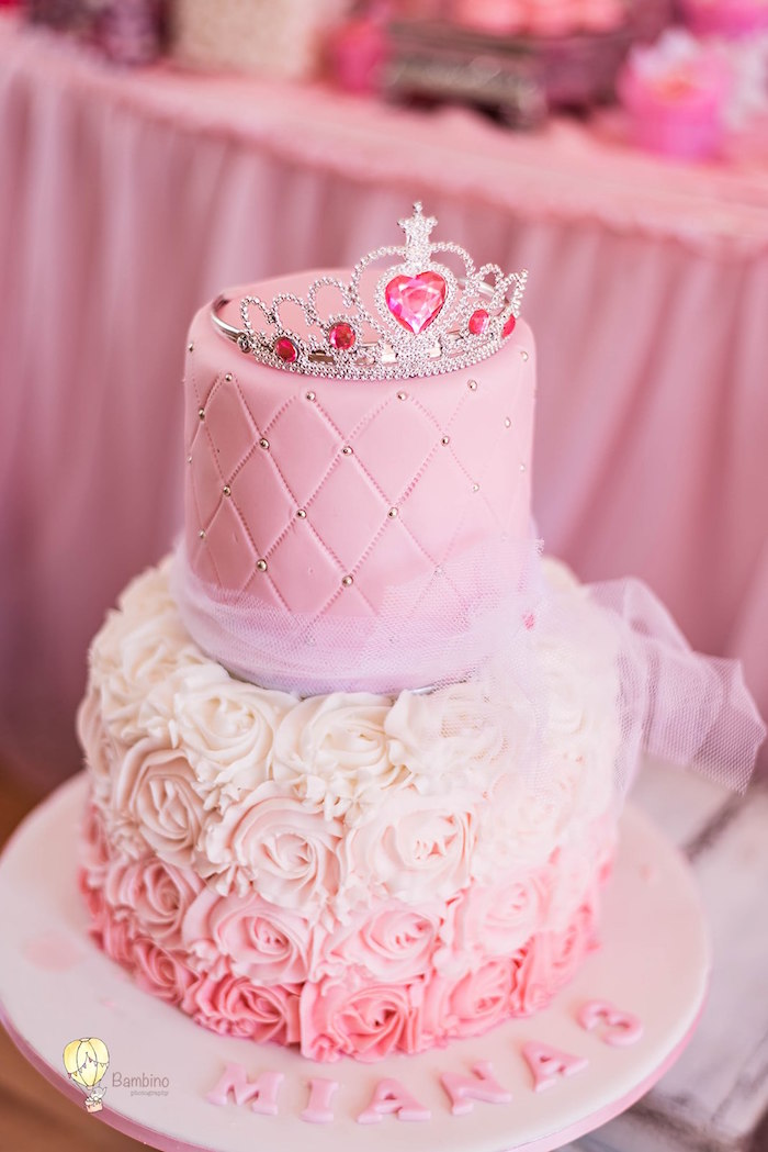 Pink Princess Cake from a Pink Princess Birthday Party on Kara's Party Ideas | KarasPartyIdeas.com (7)