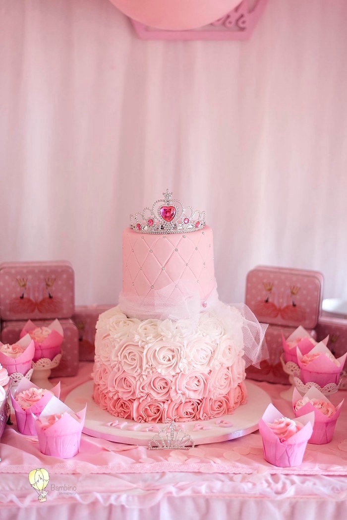 Princess Cake from a Pink Princess Birthday Party on Kara's Party Ideas | KarasPartyIdeas.com (23)