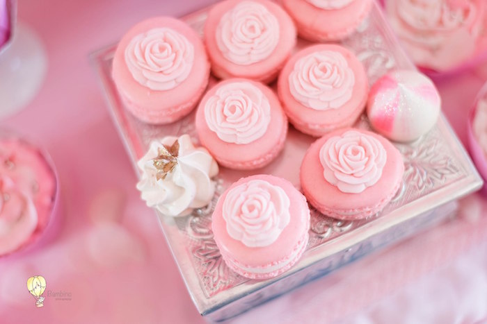 Pink Rose Macarons from a Pink Princess Birthday Party on Kara's Party Ideas | KarasPartyIdeas.com (20)