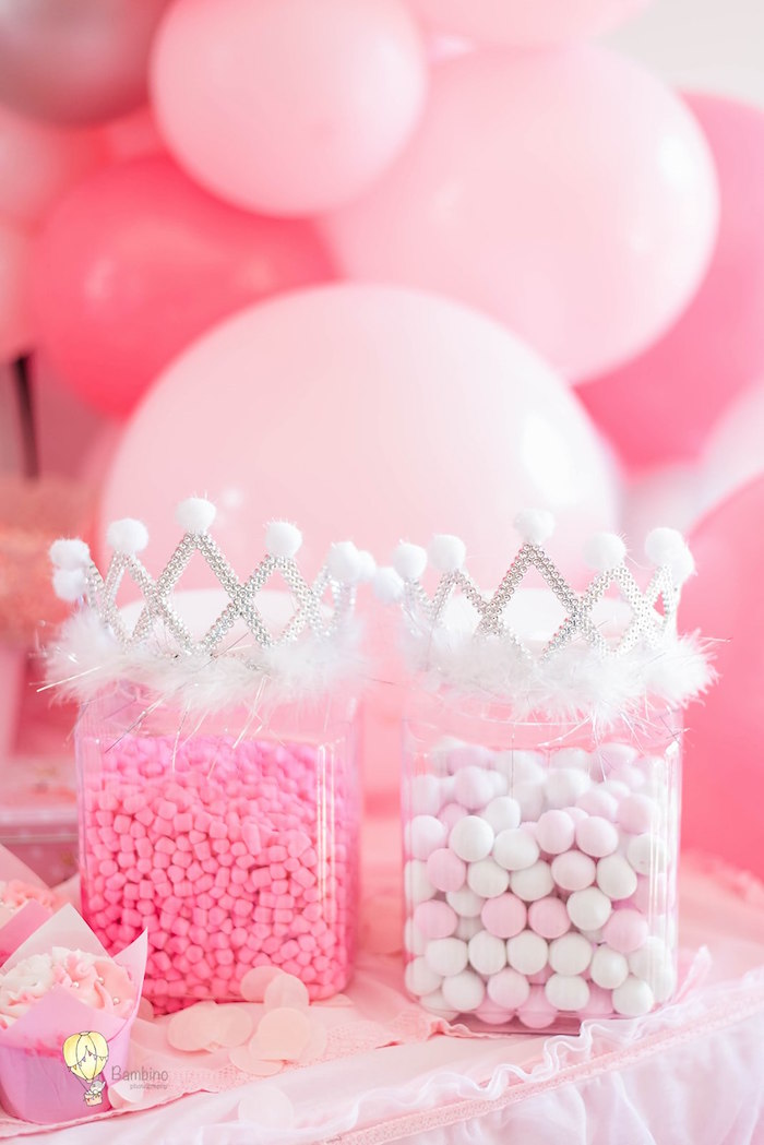 Princess-crowned Candy Dishes from a Pink Princess Birthday Party on Kara's Party Ideas | KarasPartyIdeas.com (18)