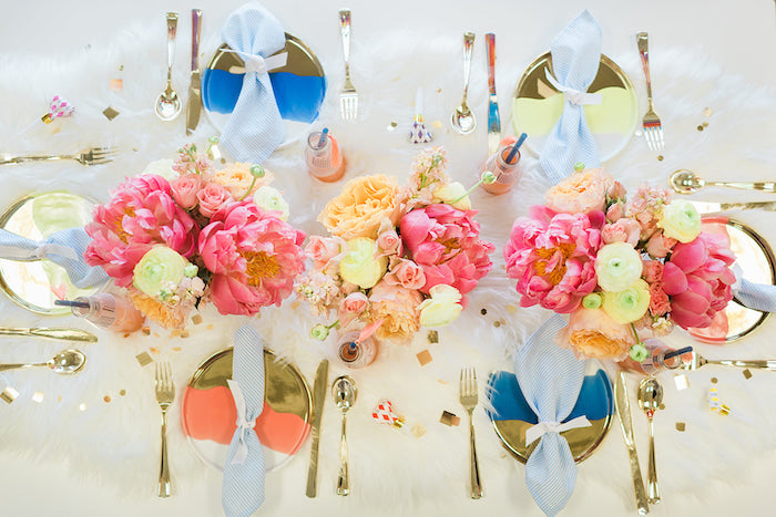 Colorful Glam Tabletop from a Pretty Alpaca Party on Kara's Party Ideas | KarasPartyIdeas.com (15)