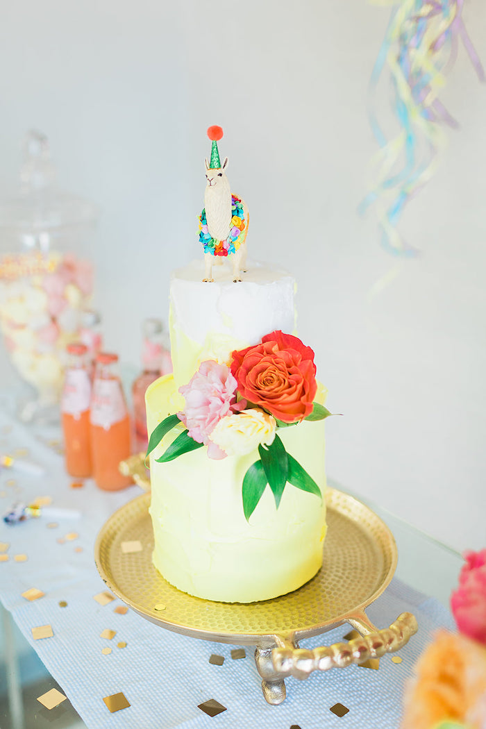 Yellow Ombre Cake from a Pretty Alpaca Party on Kara's Party Ideas | KarasPartyIdeas.com (7)