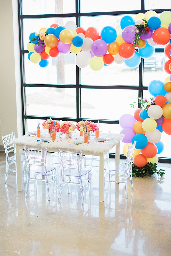 Party Table highlighted with a Colorful Balloon Garland from a Pretty Alpaca Party on Kara's Party Ideas | KarasPartyIdeas.com (38)