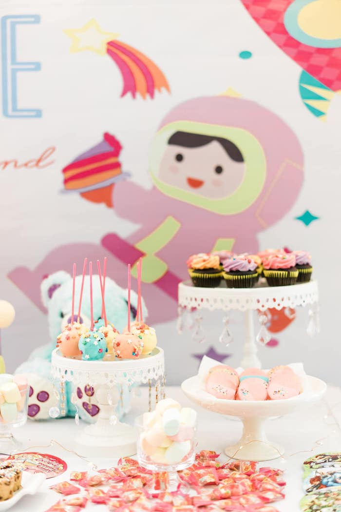 Space Themed Sweet Table from a Rainbows and Rockets Birthday Party on Kara's Party Ideas | KarasPartyIdeas.com (30)