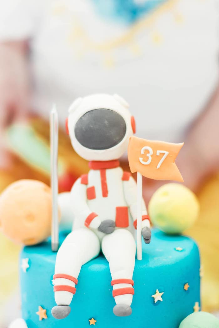 Astronaut Cake Topper from a Rainbows and Rockets Birthday Party on Kara's Party Ideas | KarasPartyIdeas.com (29)