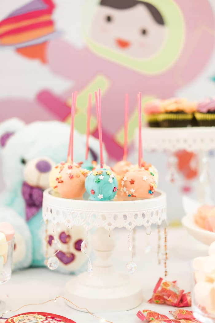Star-sprinkled Rainbow Cake Pops from a Rainbows and Rockets Birthday Party on Kara's Party Ideas | KarasPartyIdeas.com (26)