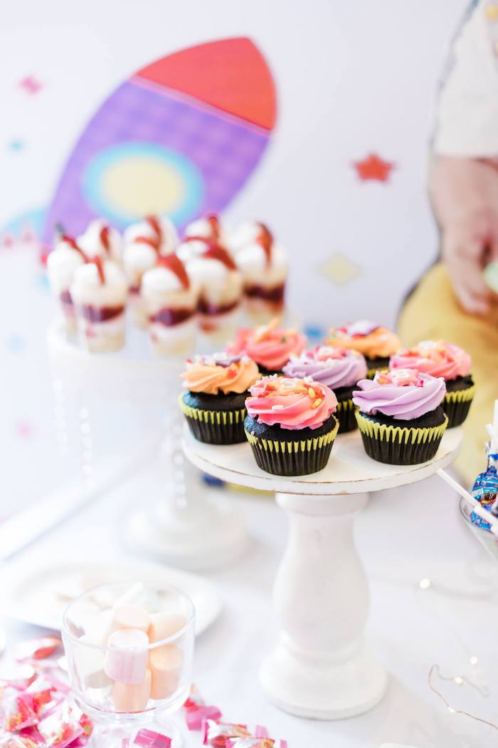 Cupcakes from a Rainbows and Rockets Birthday Party on Kara's Party Ideas | KarasPartyIdeas.com (23)