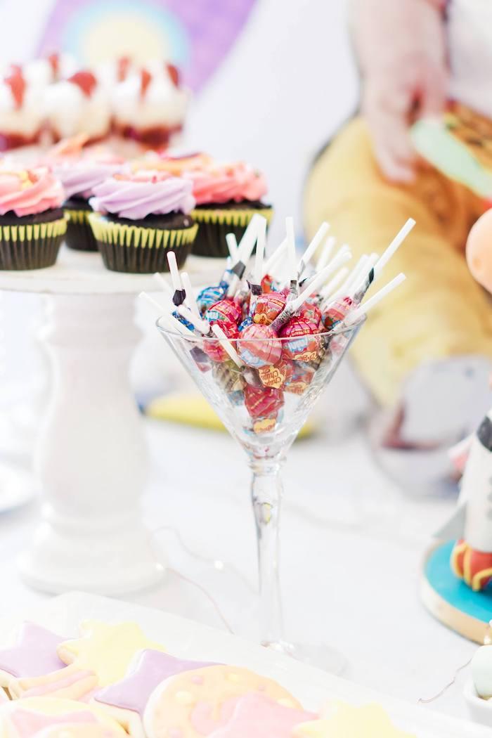 Martini Glass of Lollipops from a Rainbows and Rockets Birthday Party on Kara's Party Ideas | KarasPartyIdeas.com (20)