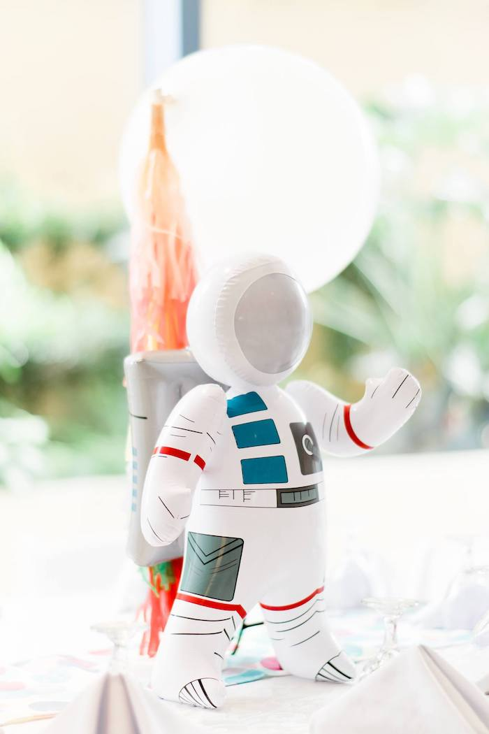 Inflatable Astronaut Table Centerpiece from a Rainbows and Rockets Birthday Party on Kara's Party Ideas | KarasPartyIdeas.com (18)