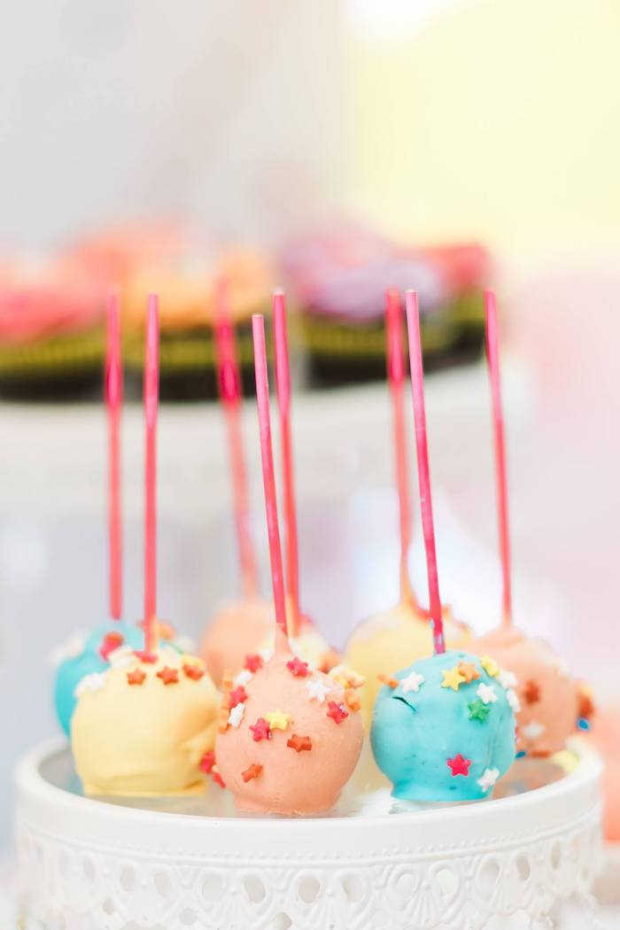 Star-sprinkled Rainbow Cake Pops from a Rainbows and Rockets Birthday Party on Kara's Party Ideas | KarasPartyIdeas.com (13)