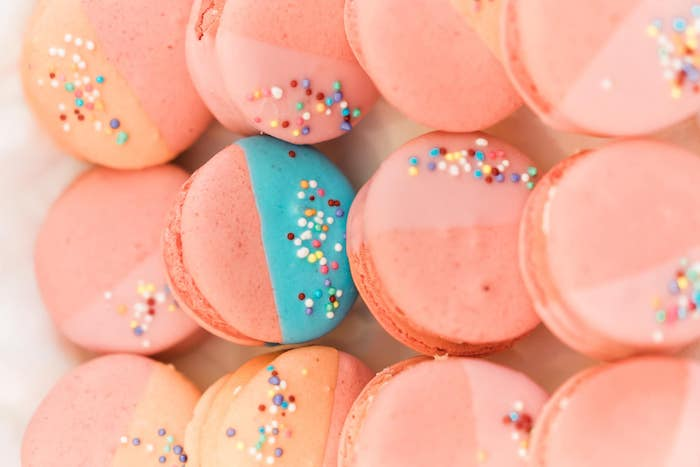 Two-toned Sprinkled Macarons from a Rainbows and Rockets Birthday Party on Kara's Party Ideas | KarasPartyIdeas.com (39)