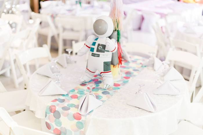 Space Themed Guest Table from a Rainbows and Rockets Birthday Party on Kara's Party Ideas | KarasPartyIdeas.com (9)