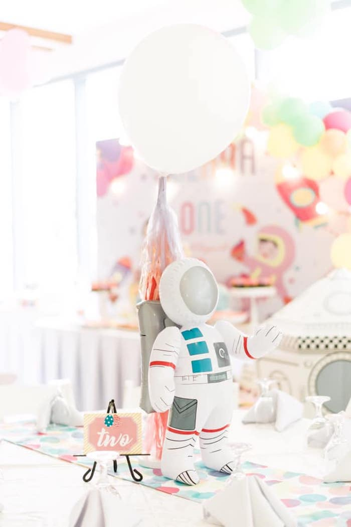Inflatable Astronaut + Balloon Table Centerpiece from a Rainbows and Rockets Birthday Party on Kara's Party Ideas | KarasPartyIdeas.com (34)