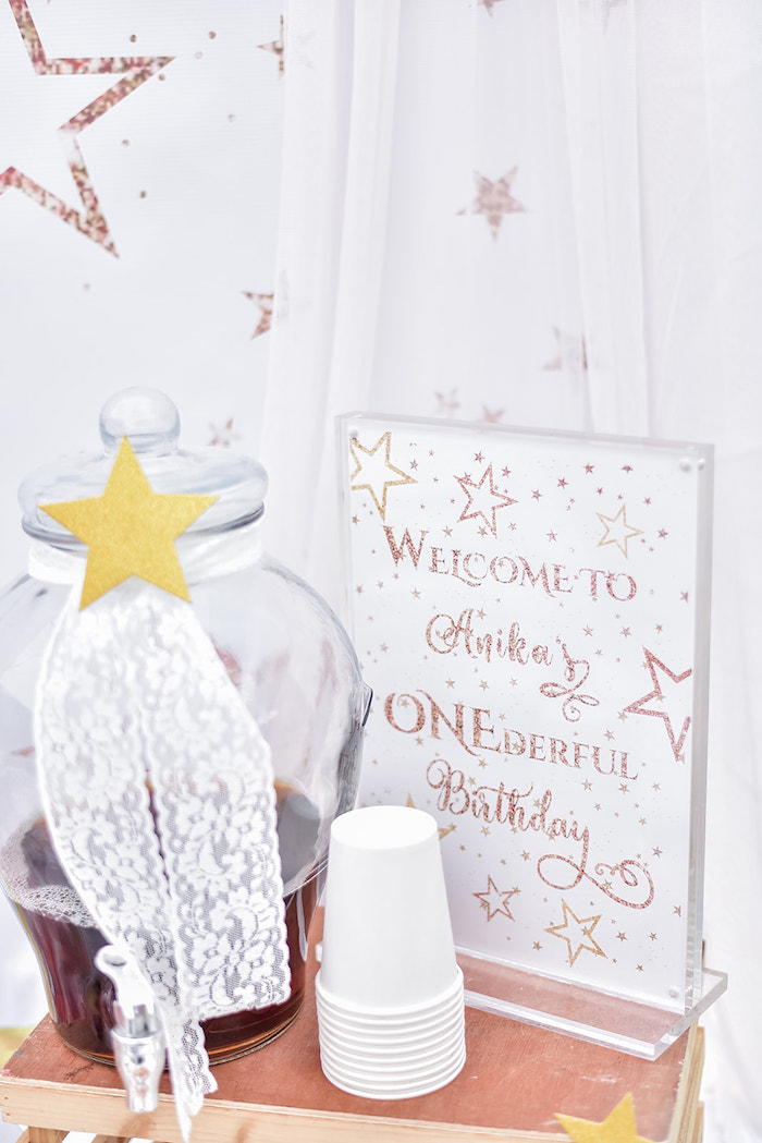 Shooting Star Beverage Dispenser + Star Party Signage from a Rose Gold Twinkle Star Birthday Party on Kara's Party Ideas | KarasPartyIdeas.com (14)