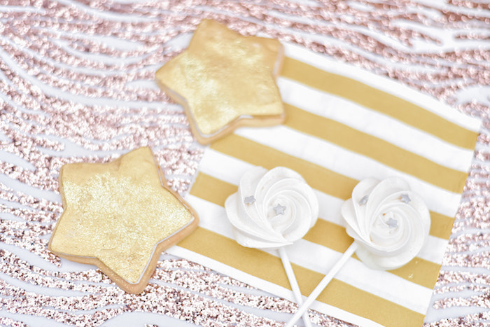 Star Cookies + Meringue Pops from a Rose Gold Twinkle Star Birthday Party on Kara's Party Ideas | KarasPartyIdeas.com (13)