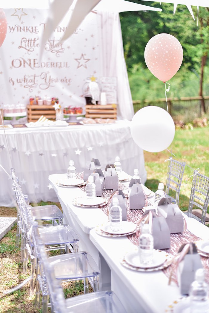 Star Themed Kid Table from a Rose Gold Twinkle Star Birthday Party on Kara's Party Ideas | KarasPartyIdeas.com (8)