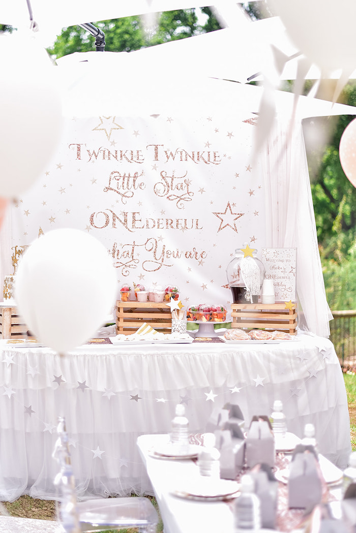 Twinkle Little Star Dessert Table from a Rose Gold Twinkle Star Birthday Party on Kara's Party Ideas | KarasPartyIdeas.com (7)