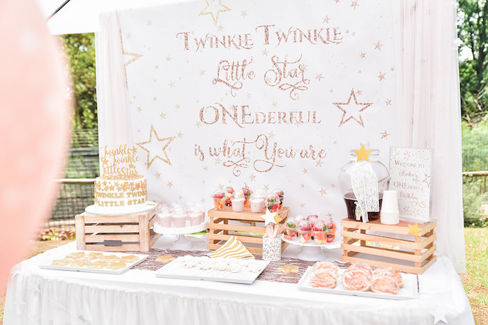 Twinkle Little Star Dessert Table from a Rose Gold Twinkle Star Birthday Party on Kara's Party Ideas | KarasPartyIdeas.com (6)
