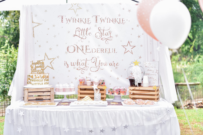 Twinkle Twinkle Little Star Dessert Table from a Rose Gold Twinkle Star Birthday Party on Kara's Party Ideas | KarasPartyIdeas.com (24)