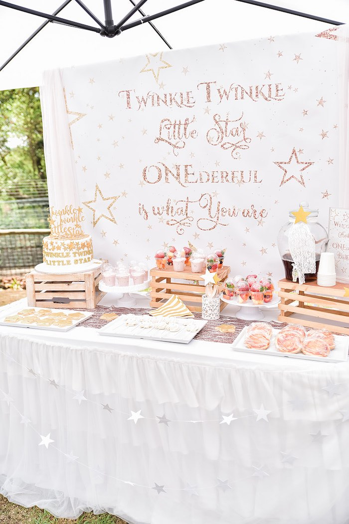 Twinkling Star Dessert Table from a Rose Gold Twinkle Star Birthday Party on Kara's Party Ideas | KarasPartyIdeas.com (5)